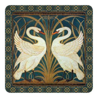 Walter Crane Swan, Rush And Iris Art Nouveau 13 Cm X 13 Cm Square Invitation Card