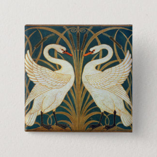 Walter Crane Swan, Rush And Iris Art Nouveau 15 Cm Square Badge