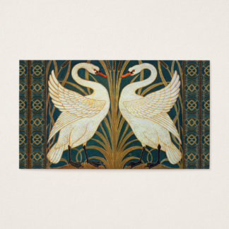 Walter Crane Swan, Rush And Iris Art Nouveau Business Card