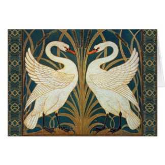Walter Crane Swan, Rush And Iris Art Nouveau Card
