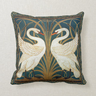 Walter Crane Swan, Rush And Iris Art Nouveau Cushion