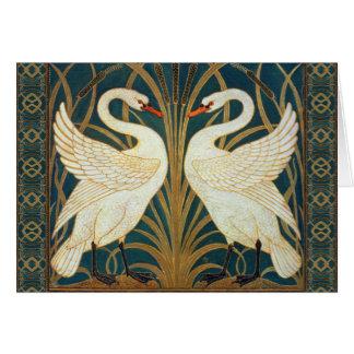 Walter Crane Swan, Rush And Iris Art Nouveau Greeting Card