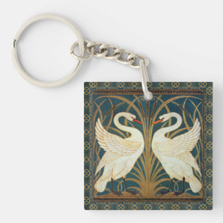 Walter Crane Swan, Rush And Iris Art Nouveau Key Ring