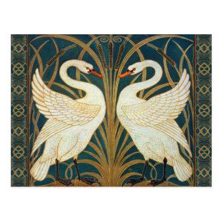 Walter Crane Swan, Rush And Iris Art Nouveau Postcard