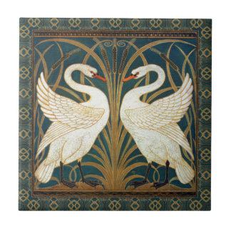 Walter Crane Swan, Rush And Iris Art Nouveau Small Square Tile