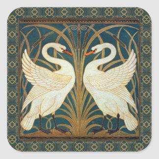Walter Crane Swan, Rush And Iris Art Nouveau Square Sticker