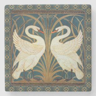 Walter Crane Swan, Rush And Iris Art Nouveau Stone Coaster