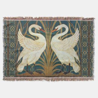 Walter Crane Swan, Rush And Iris Art Nouveau Throw Blanket