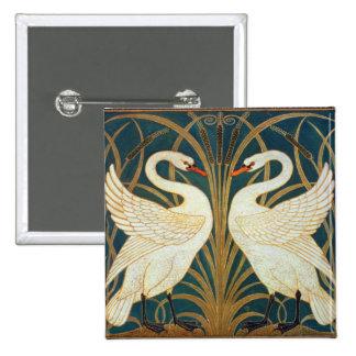 Walter Crane Swan, Rush And Iris Button