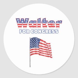 Walter for Congress Patriotic American Flag Design Stickers