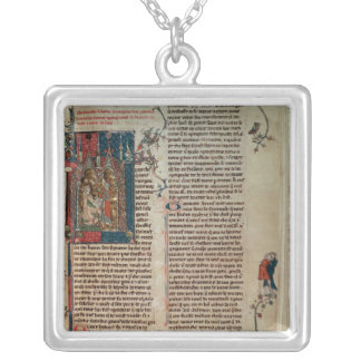 Walter Map taking down a story of the adventures Silver Plated Necklace