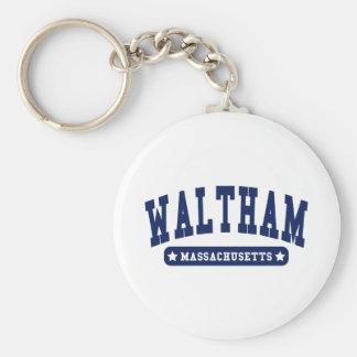 Waltham Massachusetts College Style tee shirts Basic Round Button Key Ring