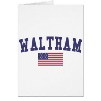 Waltham US Flag Greeting Card