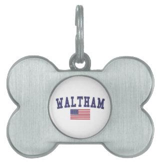 Waltham US Flag Pet Name Tag