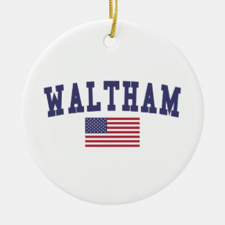 Waltham US Flag Round Ceramic Decoration