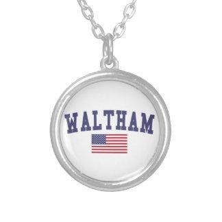 Waltham US Flag Round Pendant Necklace