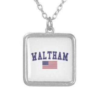 Waltham US Flag Square Pendant Necklace