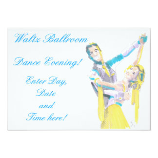 Waltz Ballroom Dancers Drawing 13 Cm X 18 Cm Invitation Card