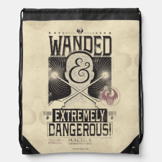 Wanded & Extremely Dangerous Wanted Poster - Black Drawstring Bag