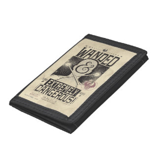 Wanded & Extremely Dangerous Wanted Poster - Black Tri-fold Wallet