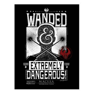 Wanded & Extremely Dangerous Wanted Poster - White Postcard