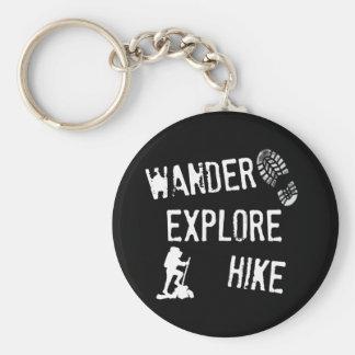 Wander, Explore, Hike Basic Round Button Key Ring