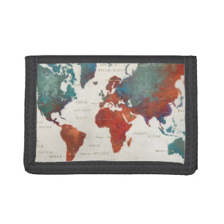 Wander Often, Wander Always Map With Quote Trifold Wallets
