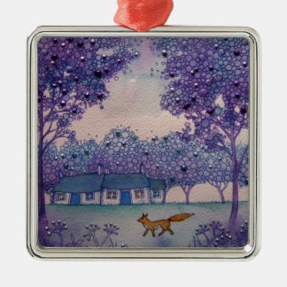 Wandering Fox Silver-Colored Square Decoration