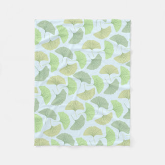 Wandering Green Gingko Fleece Blanket