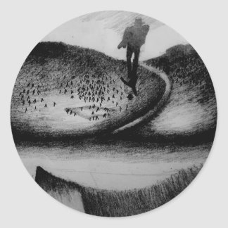 Wandering Man Round Sticker
