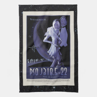 Wandering Planet holiday advert space vacation Tea Towel