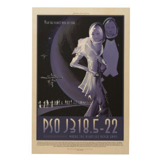 Wandering Planet holiday advert space vacation Wood Wall Art