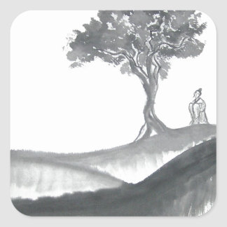 Wandering Taoist Monk Square Sticker