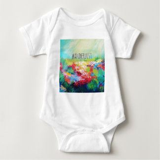 WANDERLUST Abstract Nature Art Typography Painting Baby Bodysuit