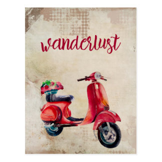 Wanderlust - Cute Red Watercolor Moped Postcard