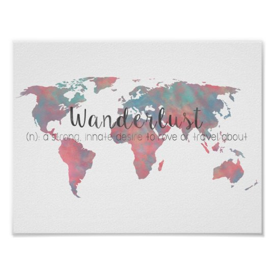 Wanderlust definition on watercolor world map poster zazzle wanderlust definition on watercolor world map poster gumiabroncs Choice Image
