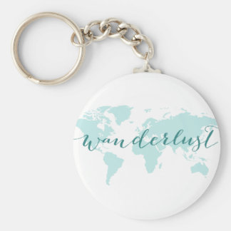 Wanderlust, desire to travel, teal world map key ring
