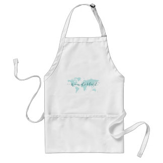 Wanderlust, desire to travel, teal world map standard apron