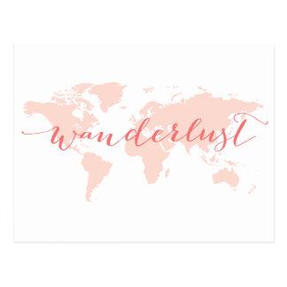 Wanderlust, desire to travel, world map postcard