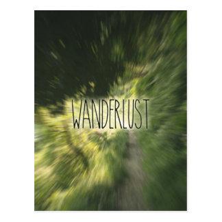 Wanderlust Lettering Green Forest Path Radial Blur Postcard