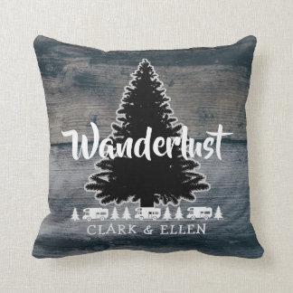 Wanderlust Pine Tree Rustic Grey Wood RV Camper Cushion