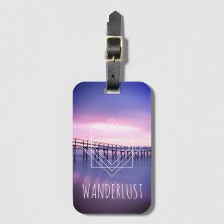 Wanderlust Purple & Pink Beach Geometric Design Luggage Tag