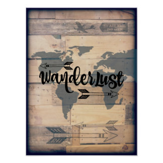 Wanderlust Rustic Wood Travel Poster