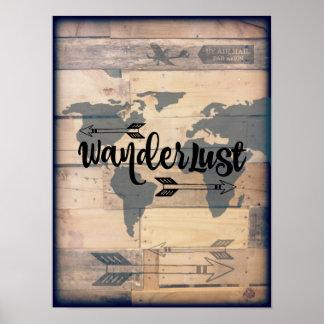 Wanderlust Rustic Wood Travel Poster