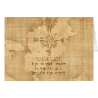 """""""Wanderlust..."""" Traveling Quote on Vintage Paper Greeting Card"""