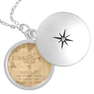 """Wanderlust..."" Traveling Quote on Vintage Paper Locket Necklace"