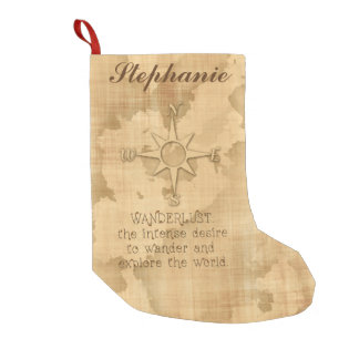 "Wanderlust..."" Traveling Quote on Vintage Paper Small Christmas Stocking"