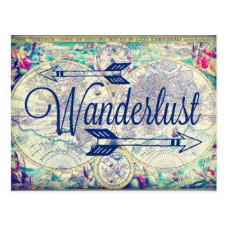 Wanderlust Vintage Map Travel Postcard