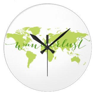 Wanderlust, world map large clock