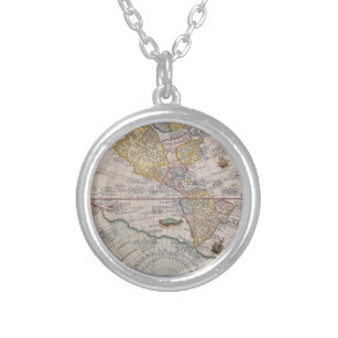 Vintage world map necklaces lockets zazzle wanderlust world map silver plated necklace freerunsca Gallery